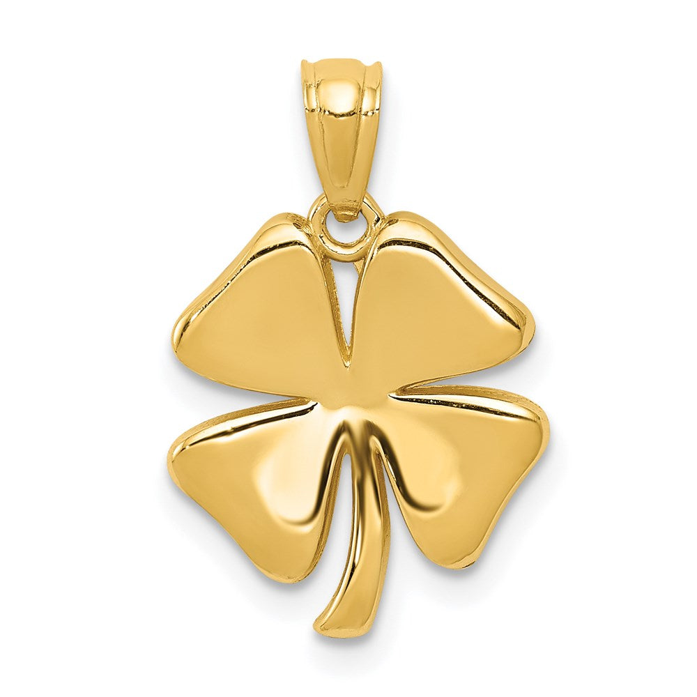 14k Gold Polished 4 Leaf Clover Pendant - TreasureFineJeweler