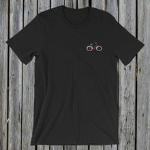 Load image into Gallery viewer, Embroidered Pink Bicycle T-Shirt Black