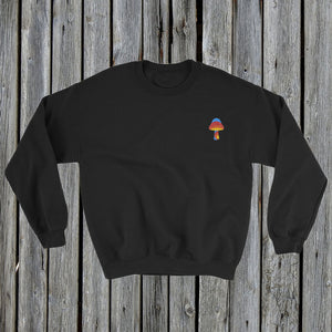 Embroidered Magic Mushroom Sweatshirt Black