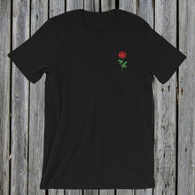 Load image into Gallery viewer, Embroidered red rose tee tshirt black