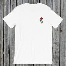 Load image into Gallery viewer, Embroidered red rose tee tshirt