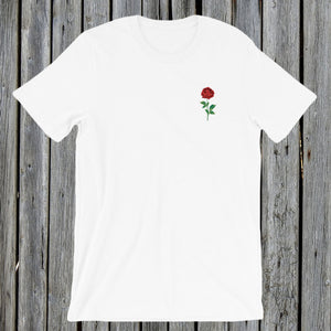 Embroidered red rose tee tshirt
