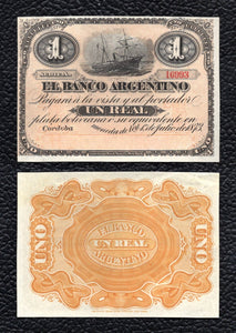 Argentina P-S1478 1.7.1873  1 Real Plata Boliiana - Crisp Almost Uncirculated - Scarce!