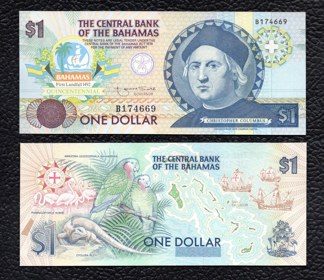 Bahamas P-50  ND(1992) 1 Dollar - Crisp Uncirculated