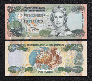 Bahamas P-68 2001 1/2 Dollar - Crisp Uncirculated