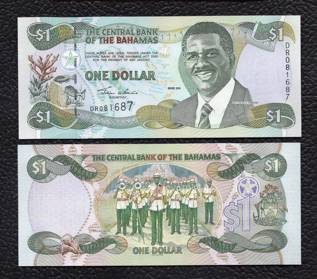 Bahamas P-69 2001 1 Dollar - Crisp Uncirculated