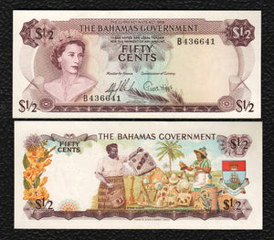Bahamas P-17a  L1965 1/2 Dollar - Choice Almost Uncirculated