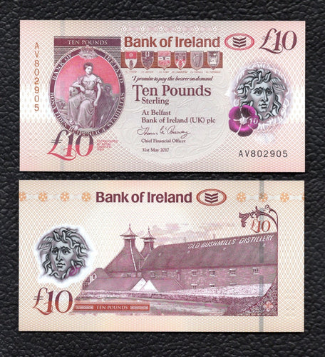 Bank of  Ireland  P-NEW  31.5.2017 Polymer Plastic  10 Pounds - Crisp Uncirculated