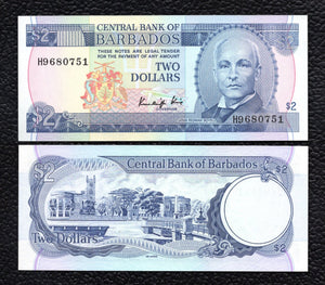 Barbados P-36  ND(1986)  2 Dollars- Crisp Uncirculated