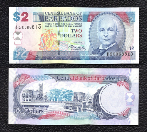 Barbados P- 66a  1.5.2007  2 Dollars- Crisp Uncirculated