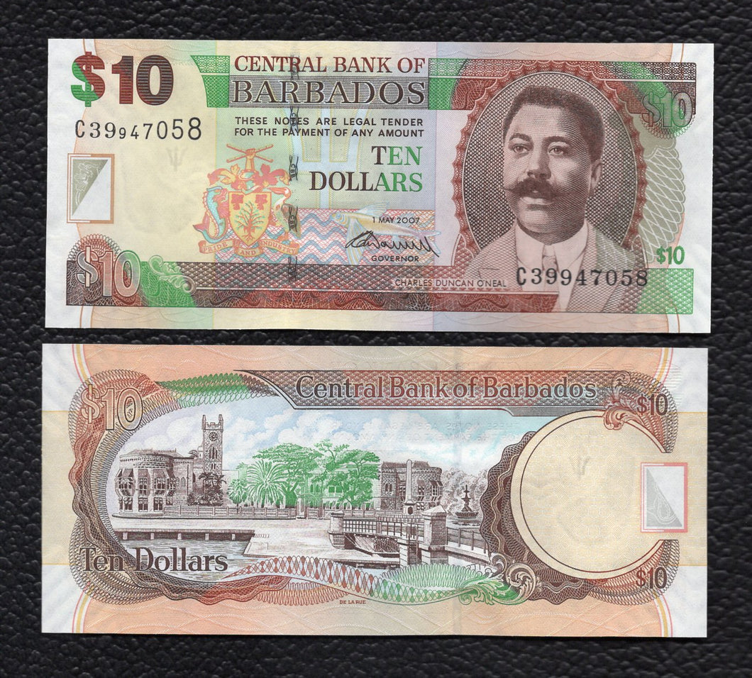 Barbados P-68b 1.5.2002 10 Dollars - Crisp Uncirculated