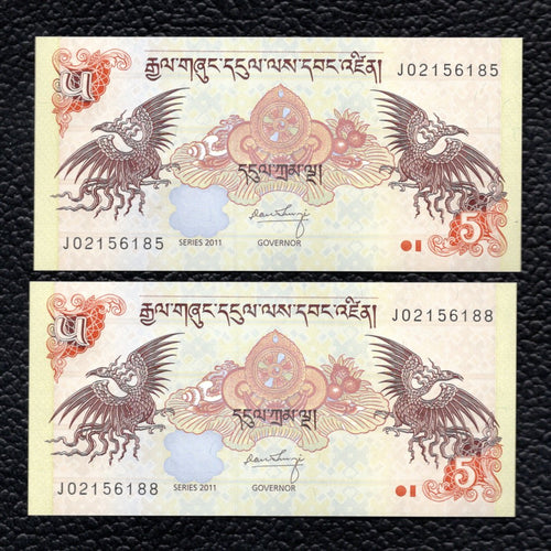 Bhutan P-28b  2011  5 Ngultrum - Crisp Uncirculated