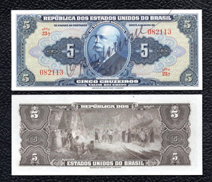 Brazil P-134  ND(1943) 5 Cruzeiros - Crisp Almost Uncirculated/Uncirculated