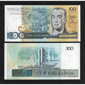 Brazil P-211b  ND(1987) 100 Cruzeiros - Crisp Uncirculated
