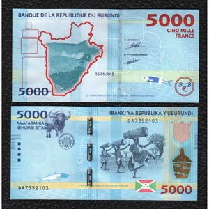 Burundi P-53 15.1.2015  5000 Francs - Crisp Uncirculated