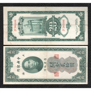 China P-328 1930 20 Customs Gold Units - Grades Very Fine