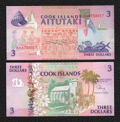 Cook Islands P-7 1992 3 Dollars - Crisp Uncirculated