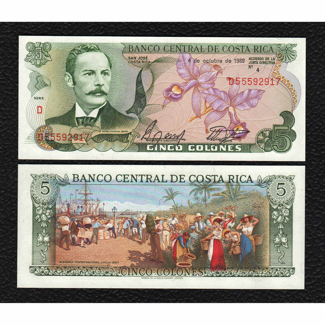 Costa Rica P-236d 4 10.1989 5 Colones - Crisp Uncirculated