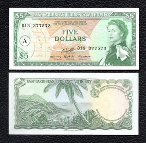 East Caribbean States P-14i  ND(1965)  5 Dollars - Crisp Uncirculated