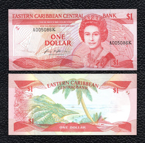 East Caribbean States P-17k   ND(1985-88)  1 Dollar - Crisp Uncirculated