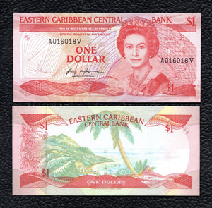 East Caribbean States P-17v ND(1985-88)  1 Dollar - Cisp Uncirculated
