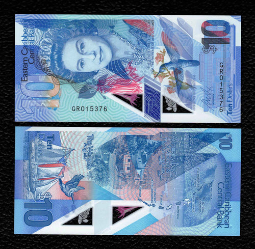 East Caribbean P-NEW  2019  Polymer Plastic 10 Dollars - Crisp Uncirculated