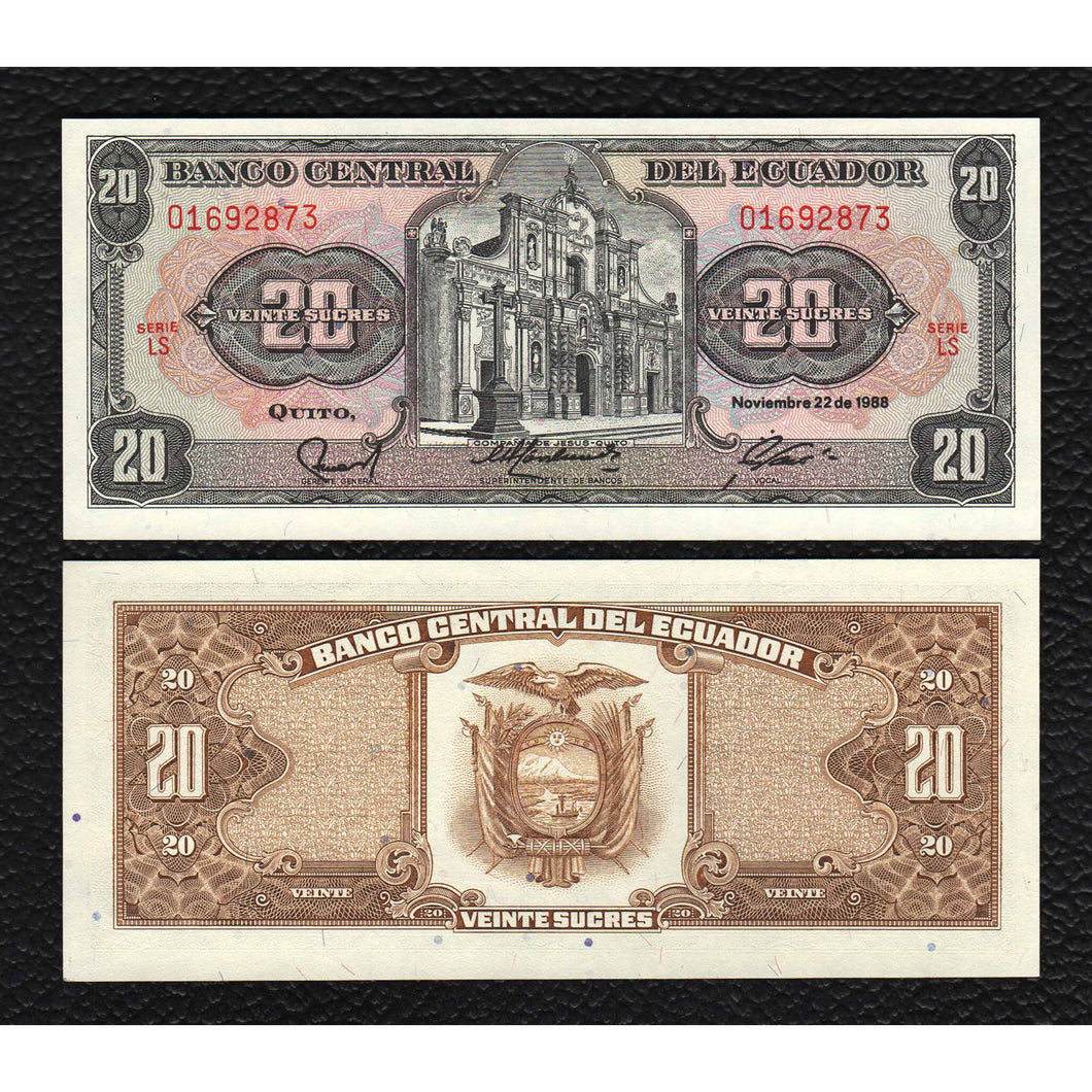 Ecuador P-121A  20.11.1988 20 Scures - Crisp Uncirculated