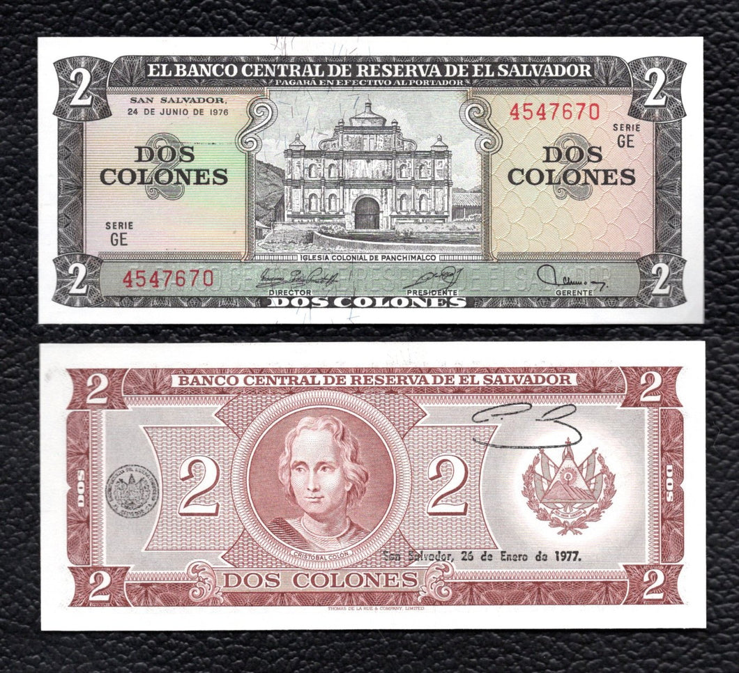 El Salvador P-124  24.5.1976  2 Colones - Crisp Uncirculated
