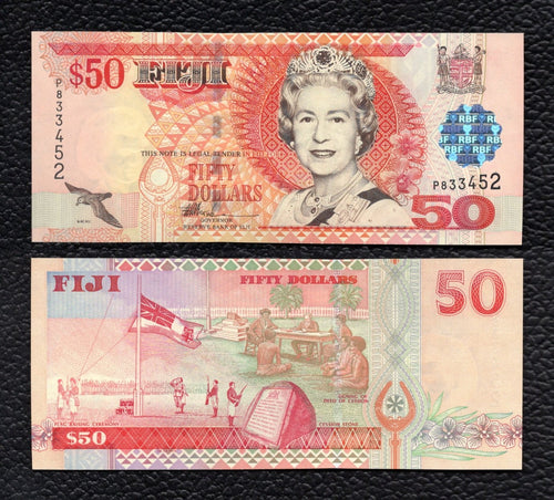 Fiji P-108a  ND(2002) 50 Dollars- Crisp Uncirculated