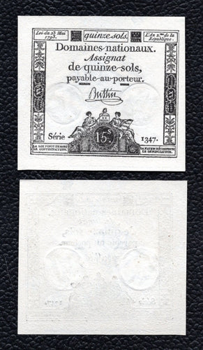 France P-A69b  23.5.1793  15 Sols  - Crisp Uncirculated