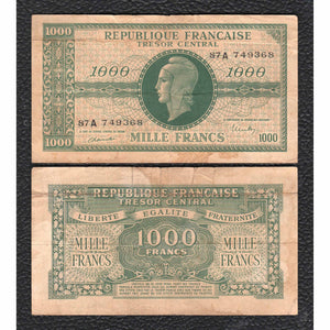 France P-107  ND(1944) 1000 Francs - Grades Very Good