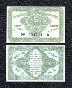French Indo China P-88a  ND(1942)  5 Cents - Crisp Uncirculated