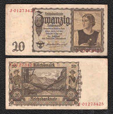 Germany P-185 16.6.1939 20 Reichsmark - Almost Uncirculated