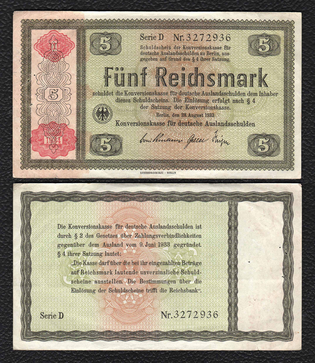 Germany P-199  28.8.1933 5 Reichsmark - Fine.Very Fine, w/Pin Holes!
