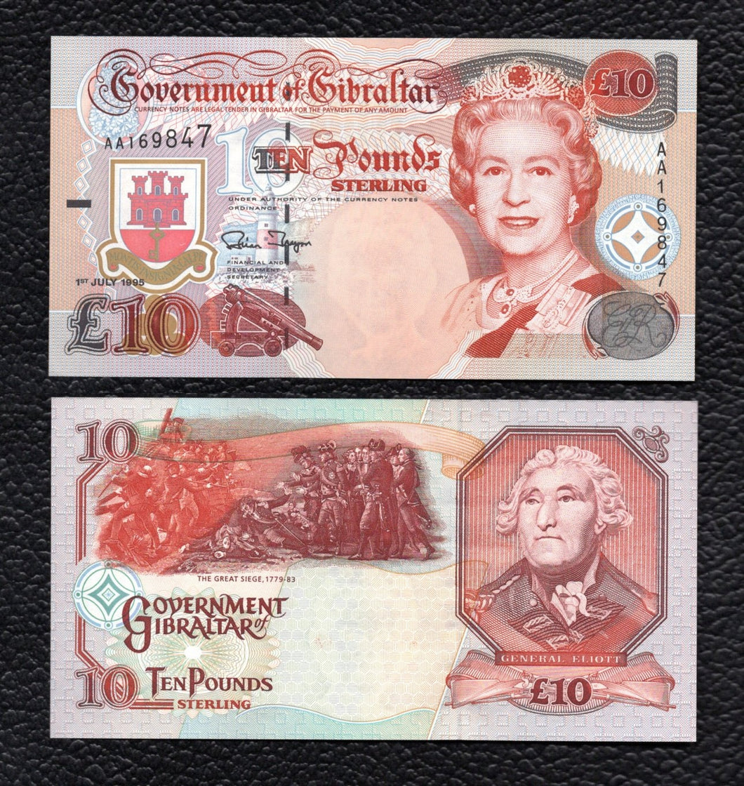 Gibralter P-26a  1.7.1995  10  Pounds - Crisp Uncirculated