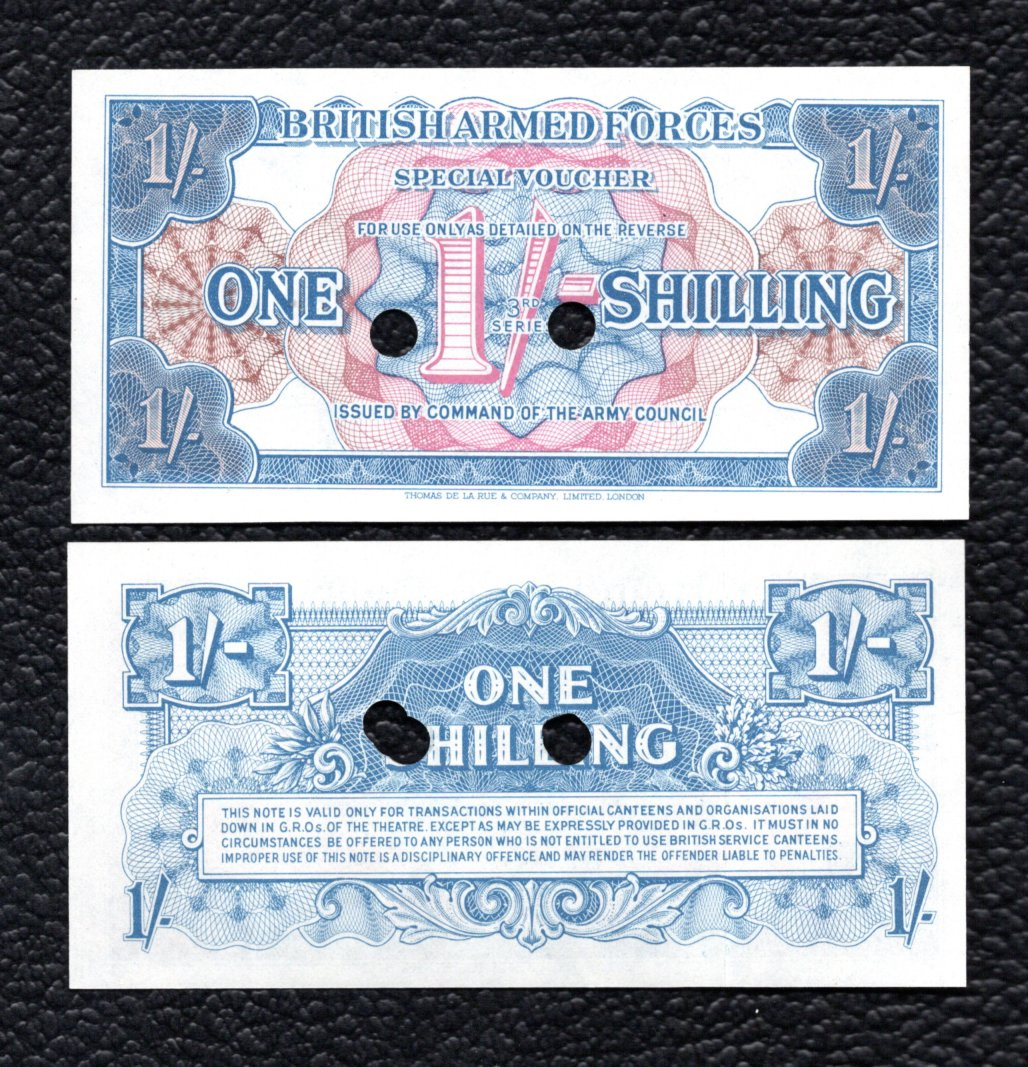 Great Britain P-M26b ND!1956) 1 Shilling - Punch cancelled remainder - Crisp Unc