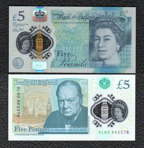 Great Britain P-NEW 2015(2016) Polymer Plastic 5 Pounds - Crisp Uncirculated