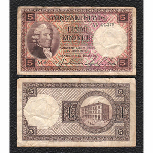 Iceland  P-27b  15.4.1928 5 Kronur - Grades Very Good