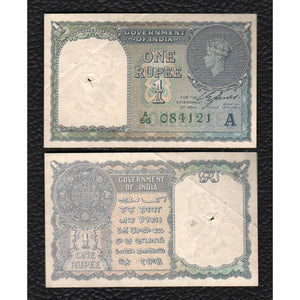 India P-25d 1940 1 Rupee - Grades Very Fine wSpindle hole!