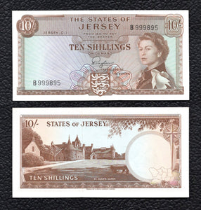 Jersey P-7  ND(1963)  10 Shillings - Crisp Uncirculated