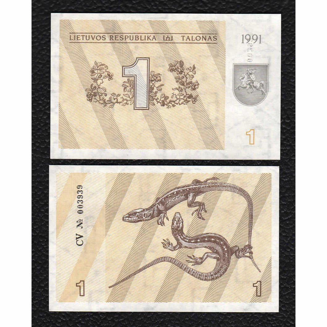 Lithuania P-32a  1991 1 Talonas - Crisp Uncirculated