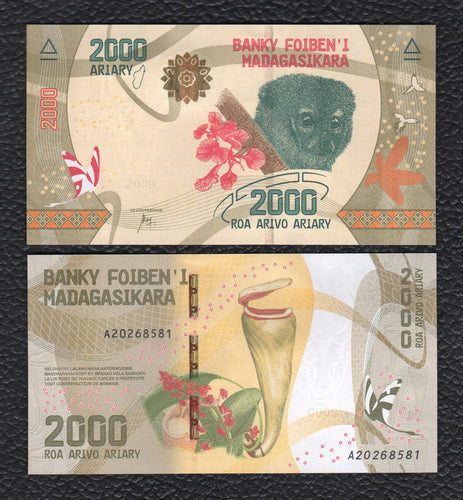 Madagascar P-NEW 2017 2000 Ariary- Crisp Uncirculated