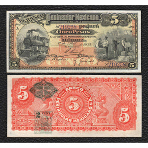 Mexico P-S465a  1.4.1914 5 Pesos - Crisp Uncirculated