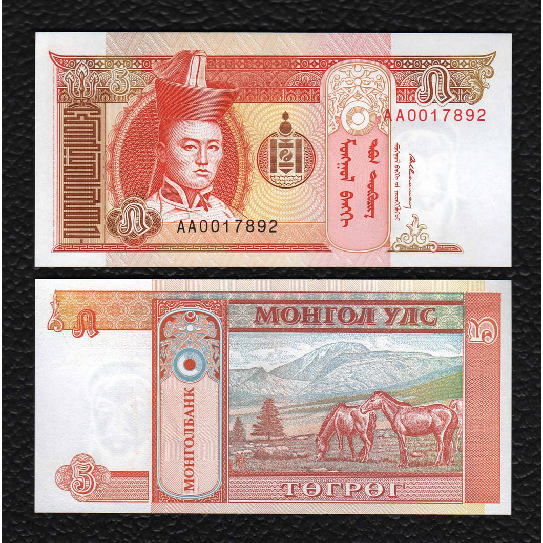 Mongolia P-53  ND(1993) 5 Tugrik - Crisp Uncirculated