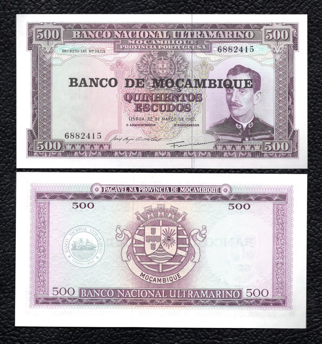 Mozambique P-118 ND(1976-Old Date) 22.3.1967) 500 Escudos - Crisp Uncirculated
