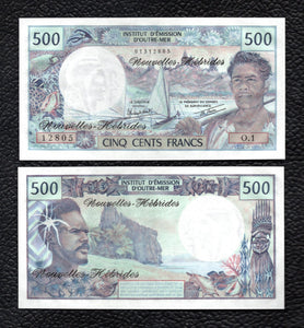 New Hebrides P-19c  ND(1979)  Sign. 3A 500 Francs- Crisp Uncirculated
