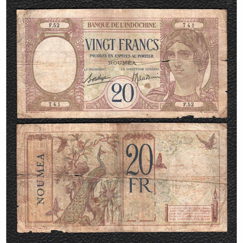 New Caledonia P-37 ND(1929) 20 Francs - Grades Good