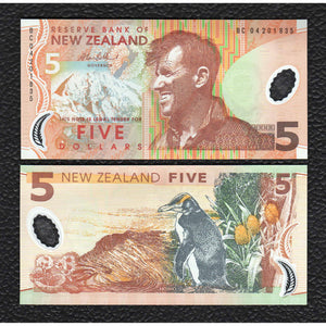 New Zealand P-185b (20)05 Polymer Plastic 5 Dollar - Crisp Uncirculated