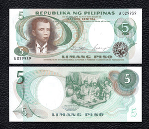 Philippines P-143a ND(1969) Sign. 7   5 Piso - Crisp Uncirculated