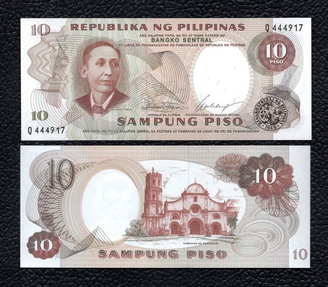 Philippines P-144a  ND(1969)  Sign. 7  10  Piso  - Crisp Uncirculated